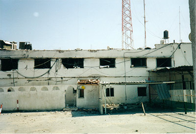 Chuck Carlson visited this Gaza school, bombed by Israel, during his trip to Israel and Gaza in 2002.